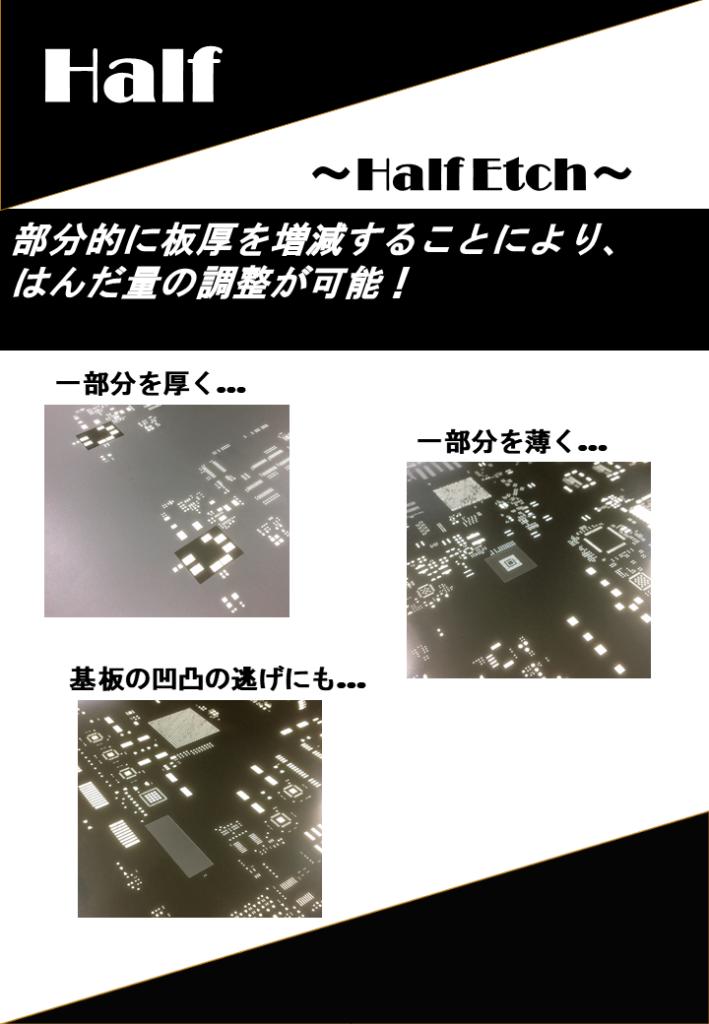 Half~Half Etch~部分的に板厚を増減することにより、はんだ量の調整が可能!基板の凹凸の逃げにも。